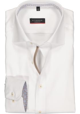 ETERNA modern fit overhemd, structuur heren overhemd, wit (beige dessin contrast)