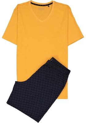 Schiesser heren shortama, donkerblauw met geel