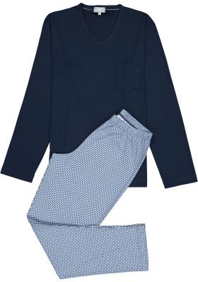 Mey heren pyjama Clyde, blauw dessin