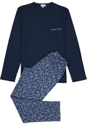Mey heren pyjama Riverslea, blauw paisely dessin