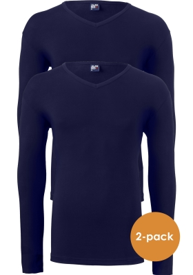 ALAN RED T-shirts Oslo (2-pack), V-hals lange mouw stretch, donkerblauw