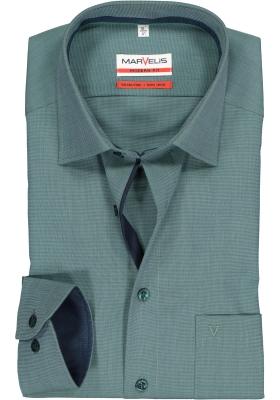 MARVELIS comfort fit overhemd, olijfgroen Chambray (contrast)