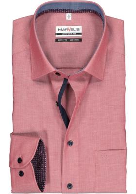 MARVELIS comfort fit overhemd, bordeaux rood structuur (contrast)