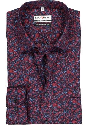 MARVELIS comfort fit overhemd, blauw met roze-rood gebloemd