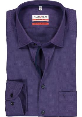 MARVELIS modern fit overhemd, paars met zwart mini dessin (contrast)