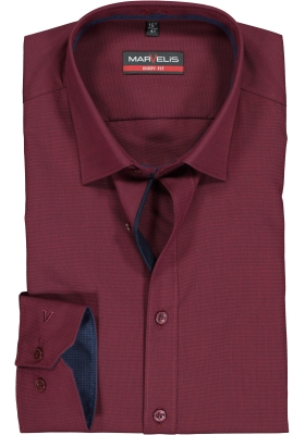 MARVELIS body fit overhemd, bordeaux rood  (contrast)