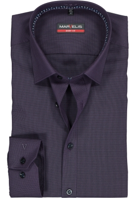 MARVELIS body fit overhemd, paars met zwart super mini pied de poule (contrast)