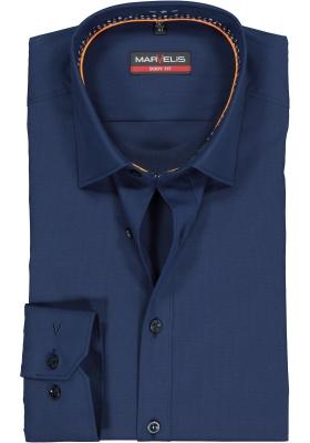 MARVELIS body fit overhemd, mouwlengte 7, marine blauw  (contrast)