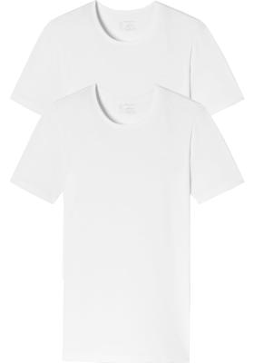 SCHIESSER 95/5 T-shirts (2-pack), O-hals, wit