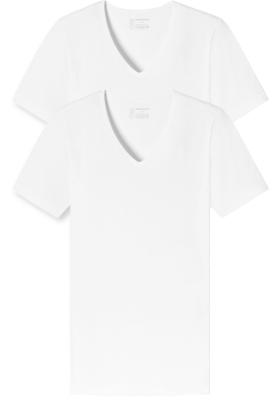 SCHIESSER 95/5 T-shirts (2-pack), V-hals, wit