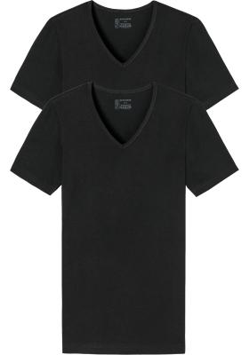 SCHIESSER 95/5 T-shirts (2-pack), V-hals, zwart