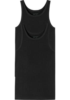 SCHIESSER 95/5 singlets (2-pack), O-hals, zwart