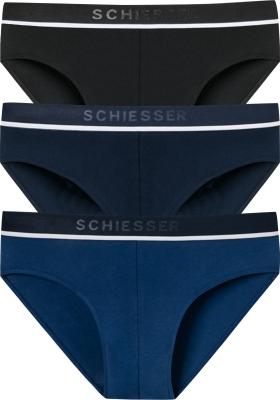 SCHIESSER 95/5 rioslips (3-pack), zwart, blauw en donkerblauw