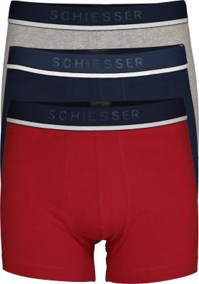 SCHIESSER 95/5 shorts (3-pack), grijs, blauw en rood