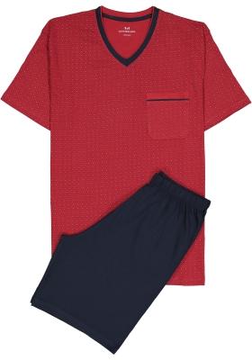 Gotzburg heren shortama, V-hals, rood met blauw en wit dessin