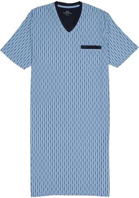 Gotzburg heren nachthemd, V-hals, lichtblauw met blauw en wit dessin