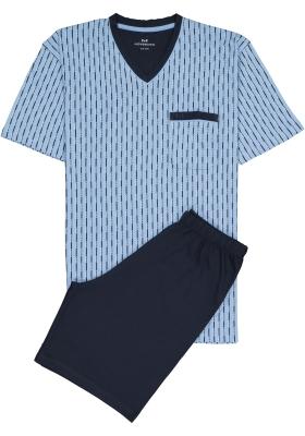 Gotzburg heren shortama, V-hals, lichtblauw met blauw en wit dessin