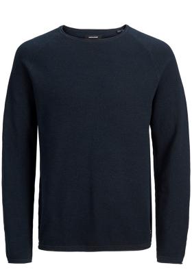 JACK & JONES slim fit trui katoen, O-hals, donkerblauw