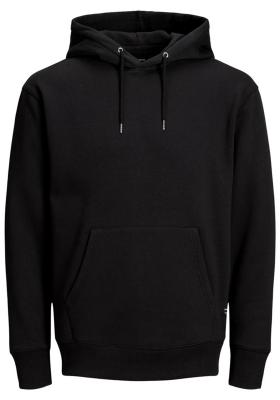 JACK & JONES relaxt fit trui katoen, soft hoodie middeldik, zwart