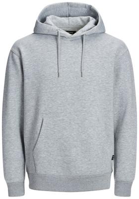 JACK & JONES relaxt fit trui katoen, soft hoodie middeldik, licht grijs melange