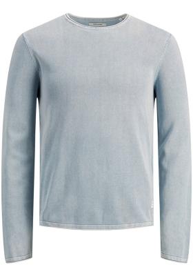 JACK & JONES slim fit trui katoen, O-hals, verwassen lichtblauw