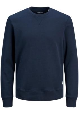 JACK & JONES sweatshirt katoen, O-hals, donkerblauw