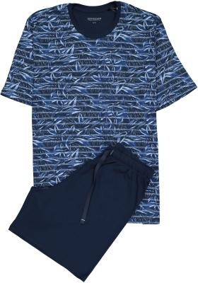 SCHIESSER heren shortama, O-hals, blauw dessin