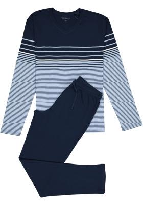 SCHIESSER heren pyjama, V-hals, licht- met donkerblauw gestreept