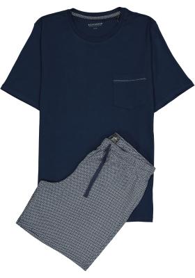 SCHIESSER heren shortama, O-hals, donkerblauw dessin broek met wit