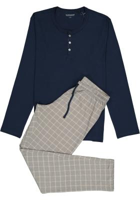 SCHIESSER heren pyjama, O-hals met knoopjes, blauw met geruite broek