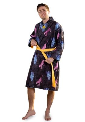 Crazy Comfort Wild Night unisex badjas, beestachtig blauw met roze