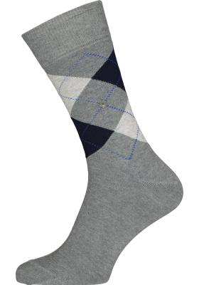 Burlington King herensokken, katoen, grijs met blauw