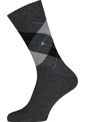 Burlington King herensokken, katoen, antraciet met grijs en zwart