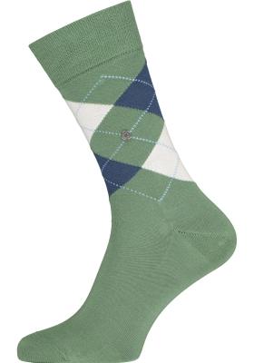Burlington Manchester herensokken, katoen, groen met blauw