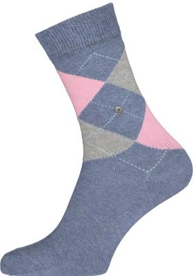 Burlington Queen damessokken, katoen,  jeans blauw met roze en grijs