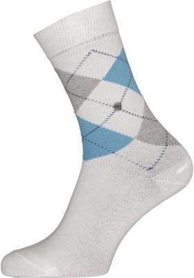 Burlington Queen damessokken, katoen,  wit met grijs en blauw