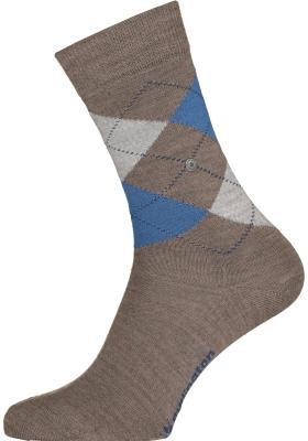Burlington Marylebone damessokken, wol,  lichtbruin met blauw en grijs