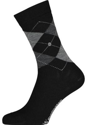 Burlington Marylebone damessokken, wol, zwart met grijs