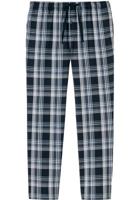 SCHIESSER Mix+Relax lounge broek, lange pijpen, dun niet elastisch, blauw geruit