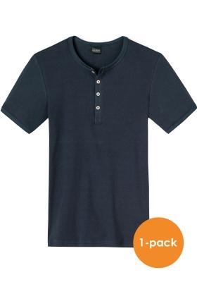 SCHIESSER Retro Rib T-shirt (1-pack), O-hals met knoopsluiting, donkerblauw