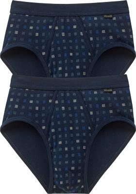 SCHIESSER Cotton Essentials sportslips (2-pack), Feinribb met gulp, donkerblauw geblokt