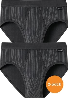 SCHIESSER Original Classics sportslips (2-pack), Feinripp met gulp, antraciet gestreept