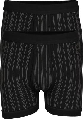 SCHIESSER Original Classics shorts (2-pack), Feinripp met gulp, zwart gestreept