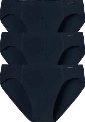 SCHIESSER Cotton Essentials supermini slips (3-pack), donkerblauw