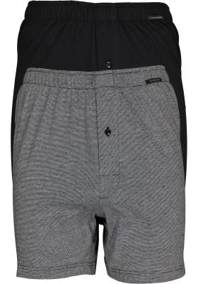 SCHIESSER Cotton Essentials boxershorts wijd (2-pack), tricot, zwart en fijn gestreept