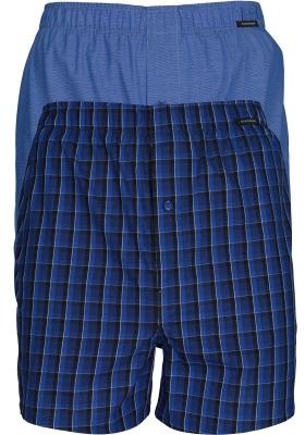 SCHIESSER Cotton Essentials boxershorts wijd (2-pack), klassiek katoen, blauw en geruit