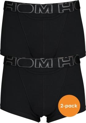 HOM HO1 boxer briefs (2-pack), heren boxer kort met horizontale gulp, zwart