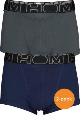 HOM HO1 boxer briefs (2-pack), heren boxer kort met horizontale gulp, blauw en antraciet
