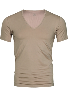Mey Dry Cotton functional T-shirt (1-pack), heren T-shirt slim fit diepe V-hals, huidskleur