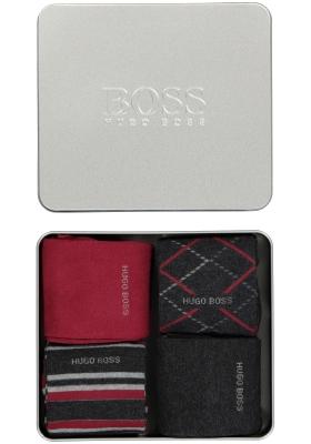 HUGO BOSS cadeauset sokken, metalen giftbox met 4 paar heren sokken, antraciet en rood uni en dessin